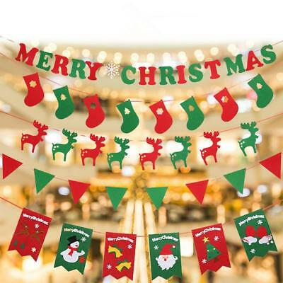 DIY Merry Christmas Fabric Bunting Banner Handing Flags Xmas tree Party Decor