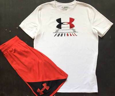 """Boy's Size Large/xl Under Armour """"football"""" Shirt & Red Shorts Nwt"""