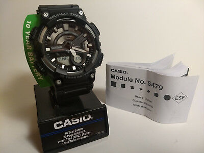 Casio AEQ110W-1AV, Digital/Analog Combo, 3 Alarms, 30 Telememo, Resin, black