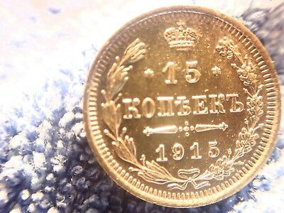 Russia: Scarce Silver 15 Kopeks 1915-Bc  About Uncirculated To Uncirculated!