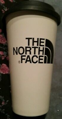 "North Face  White Ceramic Travel Mug Tumbler Cryptic With Rubber Cover 6"" Tall"