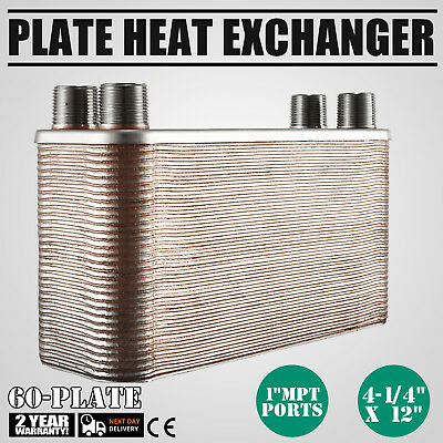 "60 Plate Water to Water Brazed Plate Heat Exchanger HVAC 1"" male 316L Steel"