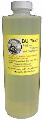 BU Plus Coin Residue Remover & Brightener 8 oz Strong Rinse Silver Gold Bronze
