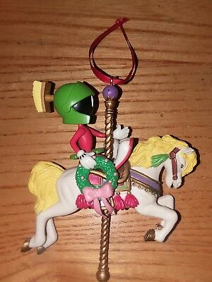 Vintage Marvin The Martian Christmas Ornament 1997 Looney Tunes Carousel Horse