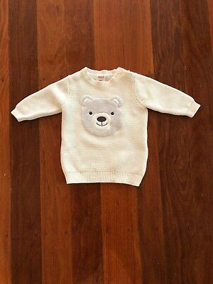 Seed Heritage Knit Jumper Size 000 Unisex Boy Girl White Bear Face 100% Cotton