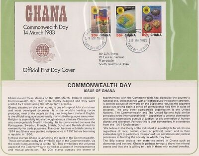 (K74-17) 1983 Ghana FDC Commonwealth day British Comm summer collection &page(Q)