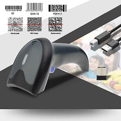 Upgraded Dual 2.4G Wireless+USB 1D 2D Barcode Scanner QR PDF417 Data Matrix UPC