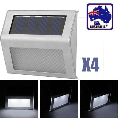 4X Outdoor Solar LED Deck Garden Stair Step Lights Stainless Steel Wall Light ES