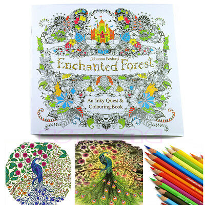 An Inky Enchanted Forest Treasure Hunt and Coloring Book By Johanna Basford New