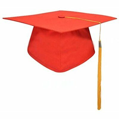 Tinksky Unisex Adult Graduation Cap With Tassel Adjustable Red Hat Yellow Fancy