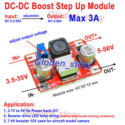 3A DC-DC Step Up Adjustable Voltage Converter Board 4-35V to 5v-56v  12v 24v 48v