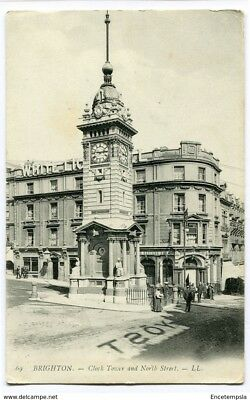 CPA-Carte postale-Royaume Uni -Brighton - Clock Tower and North Street - 1907