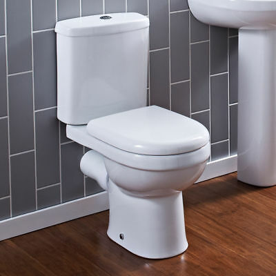 Toilet Bathroom Pan Modern Round Close Coupled Soft Close Seat WC NCS250