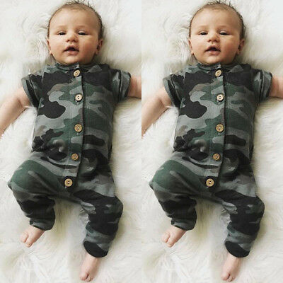 Toddler Baby Boy Girl Kids Cotton Camo Romper Jumpsuit Summer Clothes Outfits UK