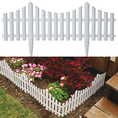 Resin Picket Garden Fence 24 In Outdoor Yard Landscape Fencing Panel 18 Pack