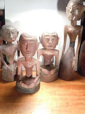 Lot/Collection of Old Vintage Hand-Carved Wooden Figures From India