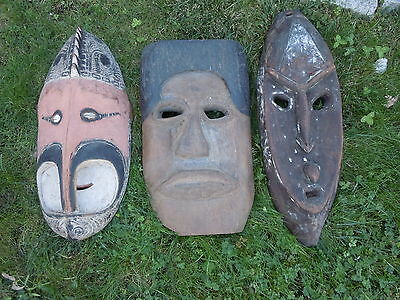 Antique Mid 20Th Century Authentic New Guinea Masks ($100 Each)