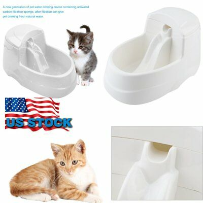 Pet Water Fountain For Cat Dog Automatic Food Bowl Dish Feeder Dispenser US BT
