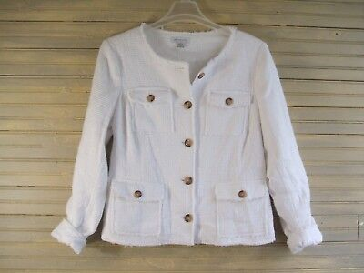 Liz Claiborne Sz L Chenille Blazer White Textured 4-Pocket  Lined Career Jacket