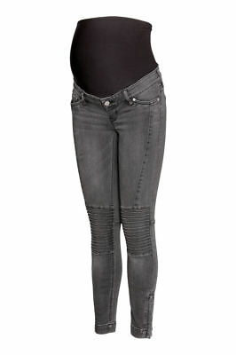 H&M MAMA Skinny Biker Jeans Maternity - UK14 Perfect condition