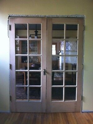 "Antique Vintage Arts & Crafts Mission 1920s Pair Wood French Doors 60"" x 80"""