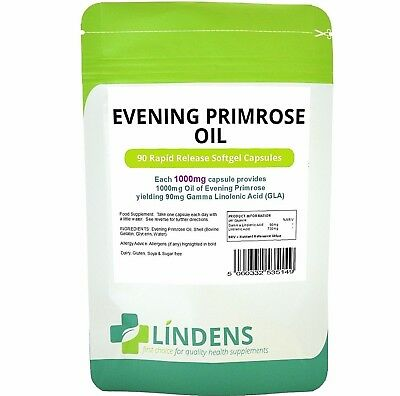 Evening Primrose Oil 1000mg Capsules (Cold Pressed Oil 90 pack)  Lindens