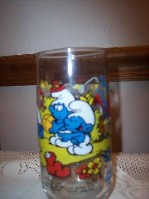 CLUMSY SMURF Vintage 1983 Peyo Glassware SMURFS Collectible Drinking Glass