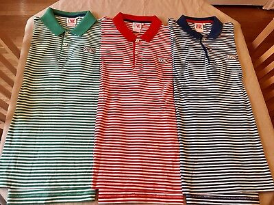 Lot Of 3 Lacoste Live Stripped Polo Green Red Blue Size 8 Slim Fit