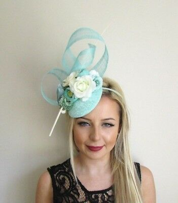 Mint Green Ivory Cream Flower Feather Hat Hair Fascinator Wedding Races 5691