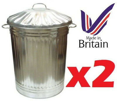 2 METAL Galvanised 90 litre bin for rubbish dustbin animal feed storage made in