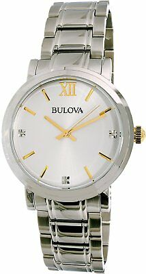 Bulova Men's 98D135 Quartz Diamond Accents Silver-Tone Bracelet 40mm Watch