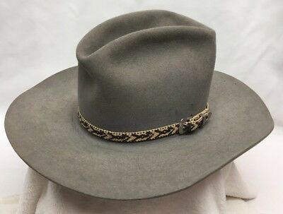 Vintage Bailey New West By Bailey 7 3/8 Gray Silver Buckle Cowboy Hat