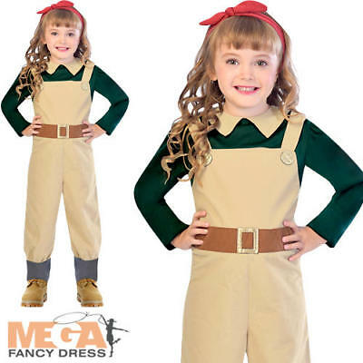 Landgirl Girls Fancy Dress World War II 1930s 40s Book Day Kid Childrens Costume