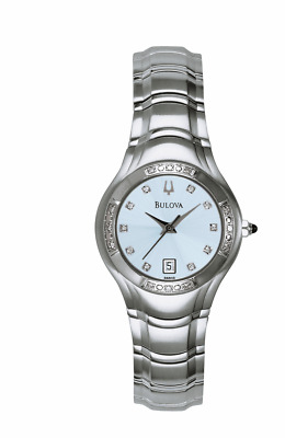 Bulova Women's 96R002 Quartz Diamond Accents Blue Dial Silver-Tone 26mm Watch