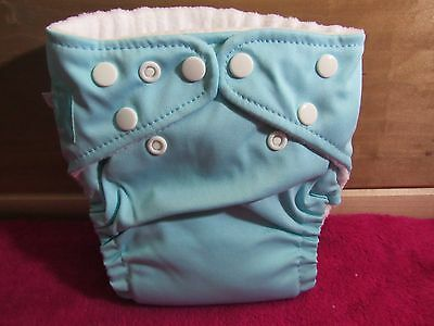 New Charlie Banana One Size Cloth Pocket Diaper Light Teal With Med/Large Insert
