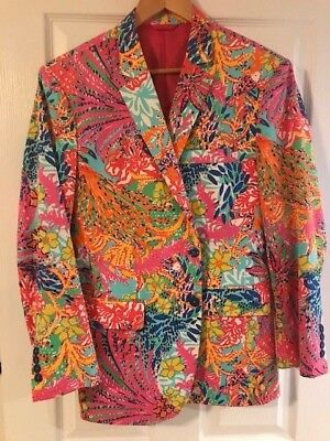 Lilly Pulitzer Men's Bespoke Sport Coat Jacket 40R Fishing for Compliments Print