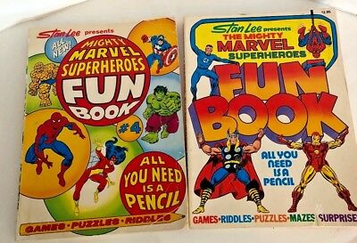 2 books. Stan Lee Presents Mighty Marvel Superheroes Fun Book 1976 & 1978