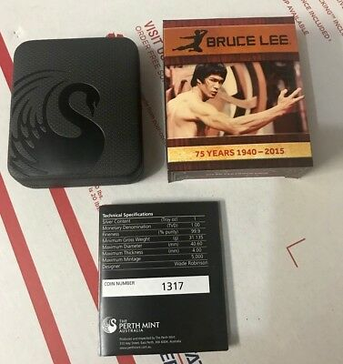 Bruce Lee .999 Silver 1 oz 75th Anniversary Proof - Only 5000 Coins (2015)