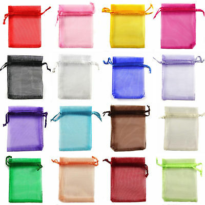 ORGANZA GIFT BAGS LOTS IN ASSORTED MIXED COLOURS 12cm x 17cm (4.7 x 6.7 Inches)