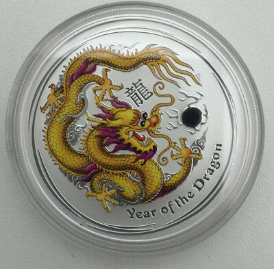 Australia Year of the Dragon .999 Silver 2012 coin (coloured yellow) Perth Mint