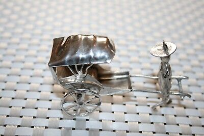 Antique Card Holder Silver Oriental Rickshaw. Good Condition. 7cm X 4cm