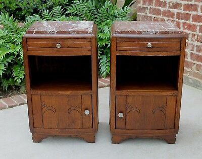 Antique French Oak PAIR Art Deco Marble Top Side Cabinets Nightstands End Tables