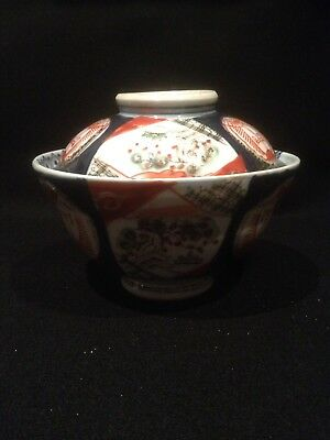 Antique Arita-Imari Ko-Sometsuke Hizen Meiji Period 1868-1912 Rice Bowl w/ Cover