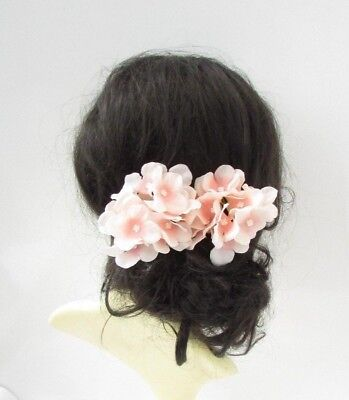 2 x Blush Light Pink Hydrangea Flower Hair Pins Bridesmaid Fascinator Boho 5704