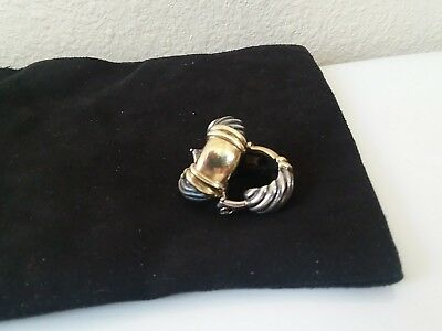 Authentic Vintage David Yurman 14kt 925 shrimp huggy cable omega  clip earring