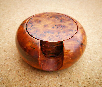Thuya Wood Round Coasters & Holder Set Natural Grain / Burr Hand-carved Morocco