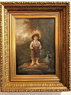 Antique Amercan or British Oil Painting of Young Boy