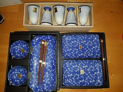 BNIB Japanese Asian Plate and Cup Collection with Chopsticks