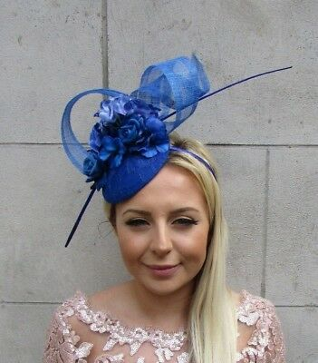 Royal Blue Rose Flower Feather Pillbox Hat Hair Fascinator Races Wedding 5712