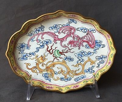 Antique 19th C Chinese Enamel Dragon Pattern Saucer